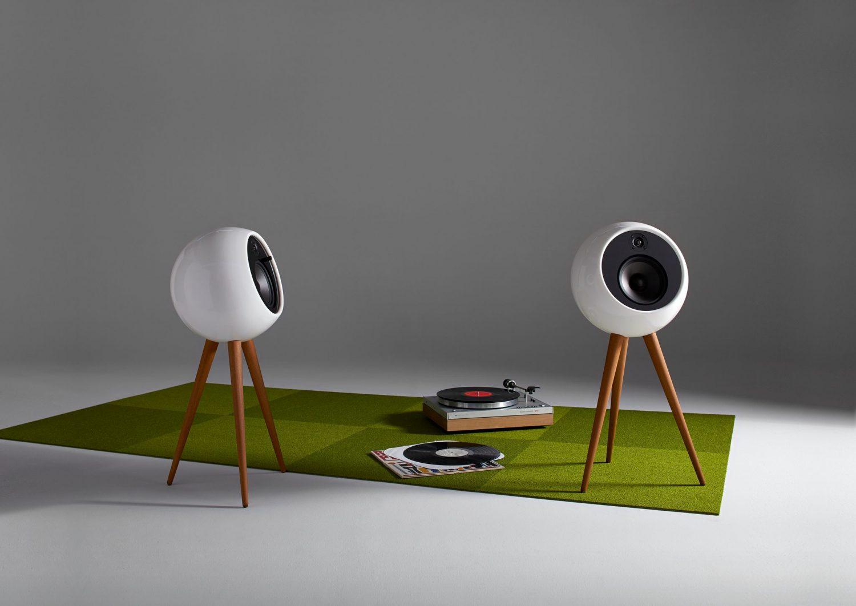 bossa sound moonraker speakers mid century modern speakers minimalist polymer shell round speakers padstyle